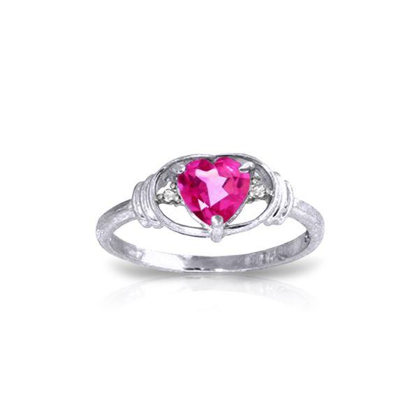 Genuine 0.96 ctw Pink Topaz & Diamond Ring 14KT White Gold - REF-40X5M