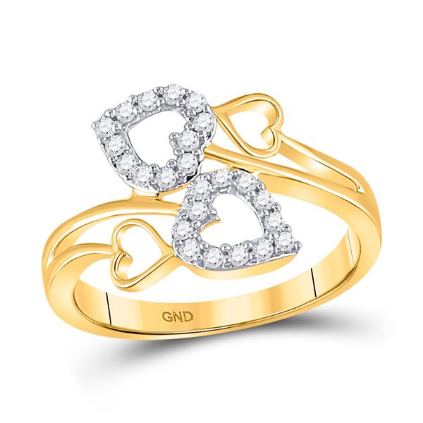 Round Diamond Double Heart Ring 1/4 Cttw 10KT Yellow Gold