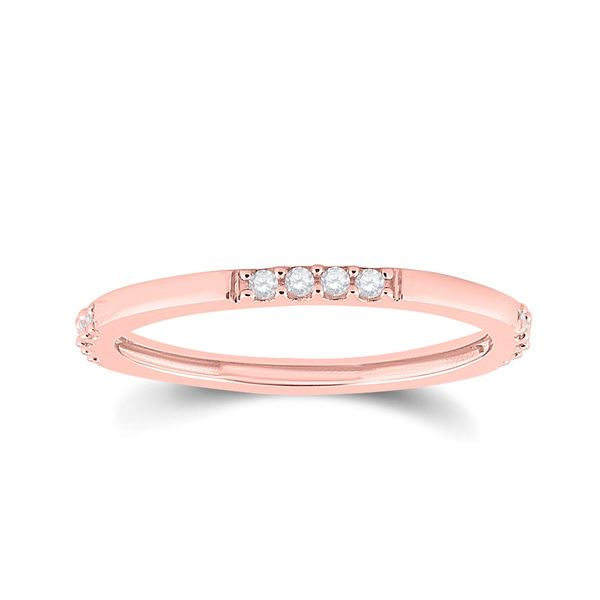 Round Diamond Stackable Band Ring 1/10 Cttw 10KT Rose Gold