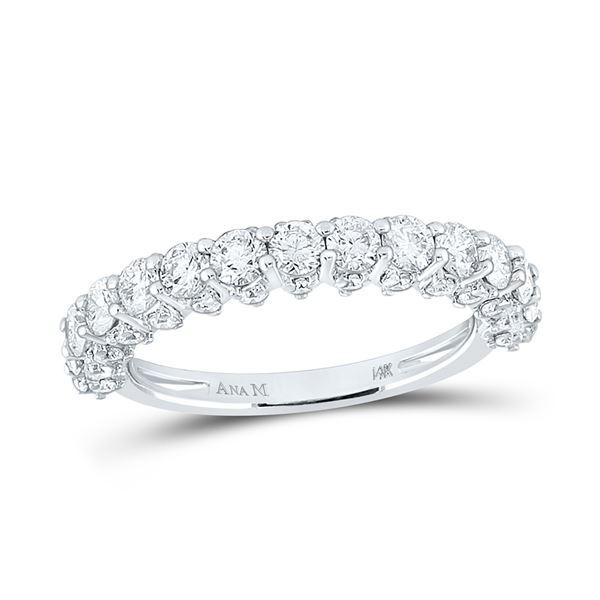Round Diamond Single Row Band Ring 1-5/8 Cttw 14KT White Gold