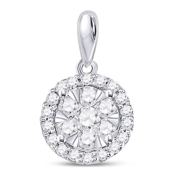 Round Diamond Halo Flower Cluster Pendant 1/2 Cttw 14KT White Gold
