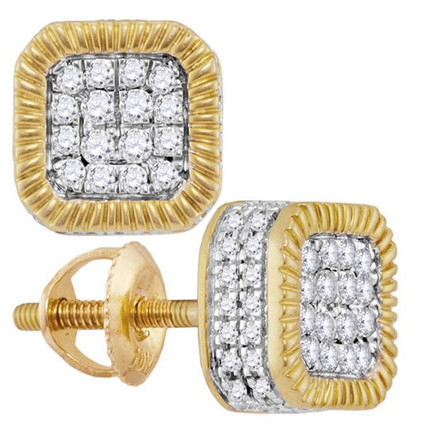 Round Diamond Fluted Square Cluster Stud Earrings 3/4 Cttw 10KT Yellow Gold
