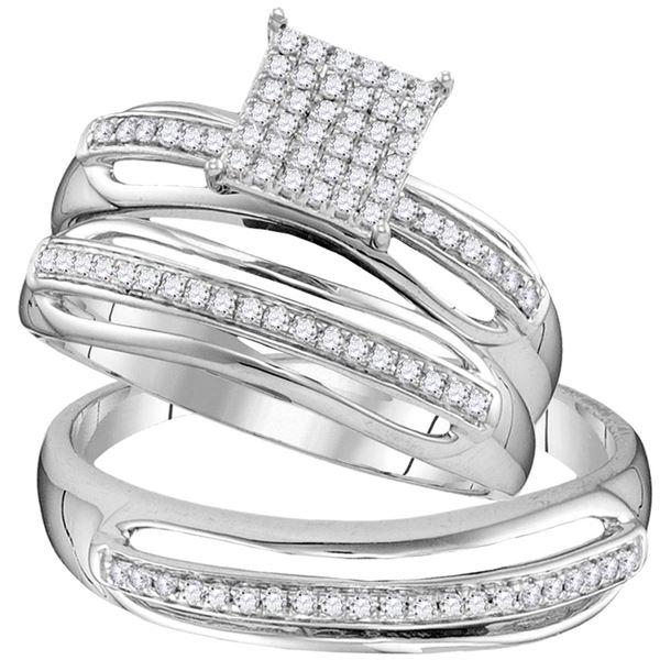 Diamond Cluster Matching Wedding Set 1/3 Cttw 10KT White Gold