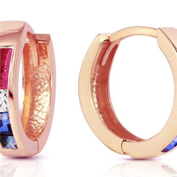 Genuine 1.28 ctw Ruby, White Topaz & Sapphire Earrings 14KT Rose Gold - REF-39F2Z