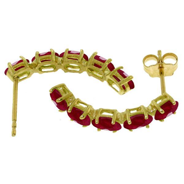 Genuine 2.5 ctw Ruby Earrings 14KT White Gold - REF-43F8Z