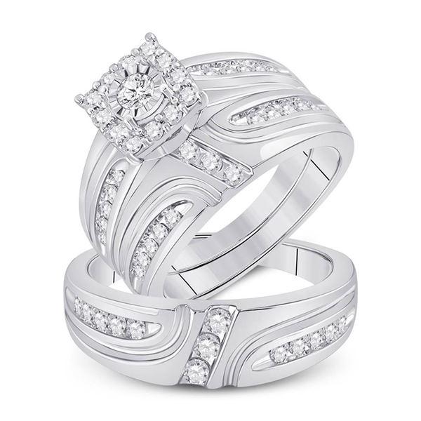 Diamond Cluster Matching Wedding Set 1 Cttw 14KT White Gold