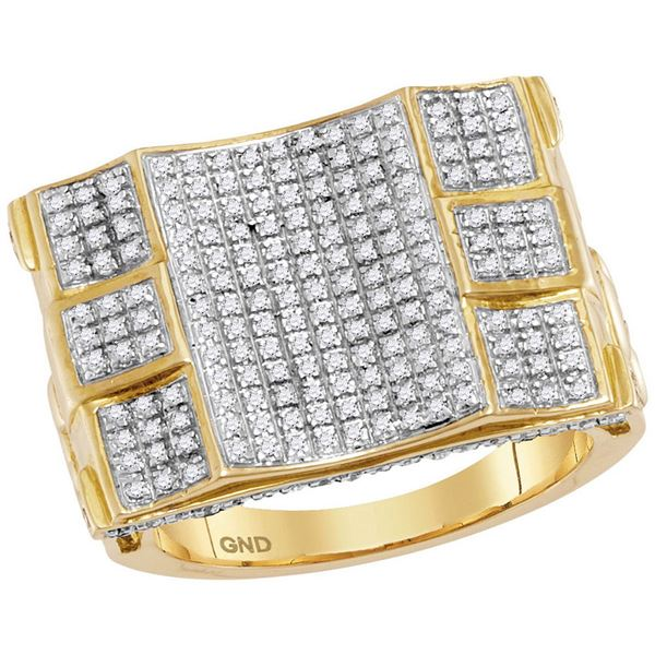Round Diamond Concave Cluster Ring 3/4 Cttw 10KT Yellow Gold