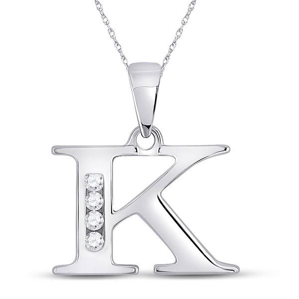 Round Diamond K Initial Letter Pendant 1/20 Cttw 10KT White Gold