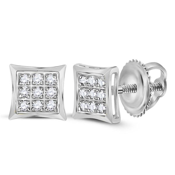 Round Diamond Kite Square Earrings 1/20 Cttw 10KT White Gold