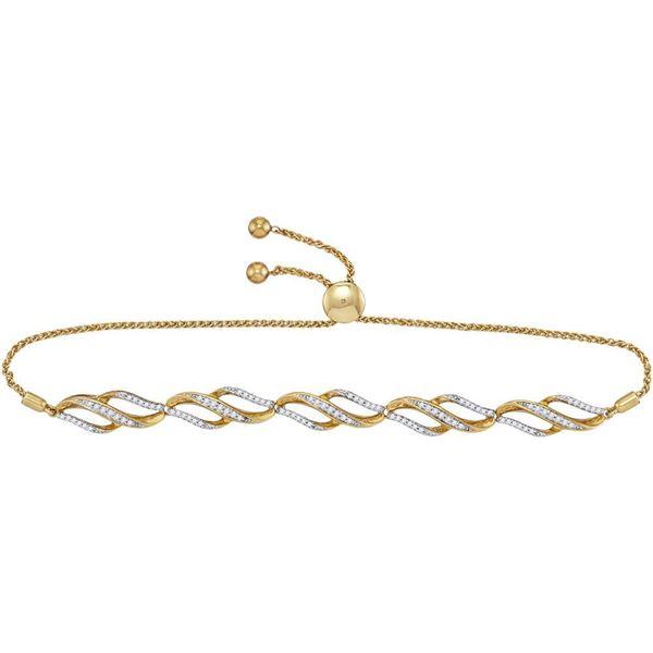 Round Diamond Bolo Bracelet 1/3 Cttw 10KT Yellow Gold
