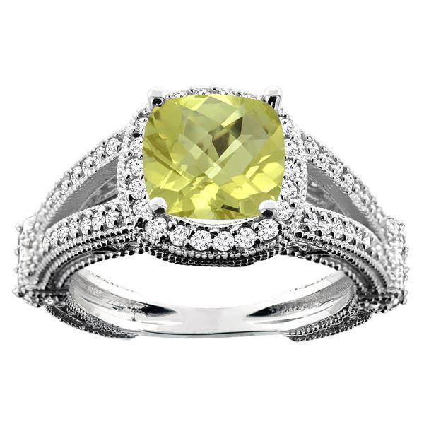 4.10 CTW Lemon Quartz & Diamond Ring 14K White Gold - REF-54N2Y