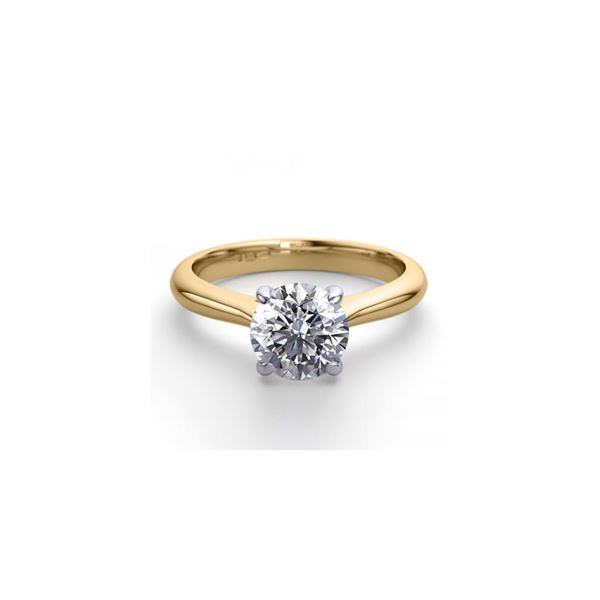 18K 2Tone Gold 1.13 ctw Natural Diamond Solitaire Ring - REF-343Y6X