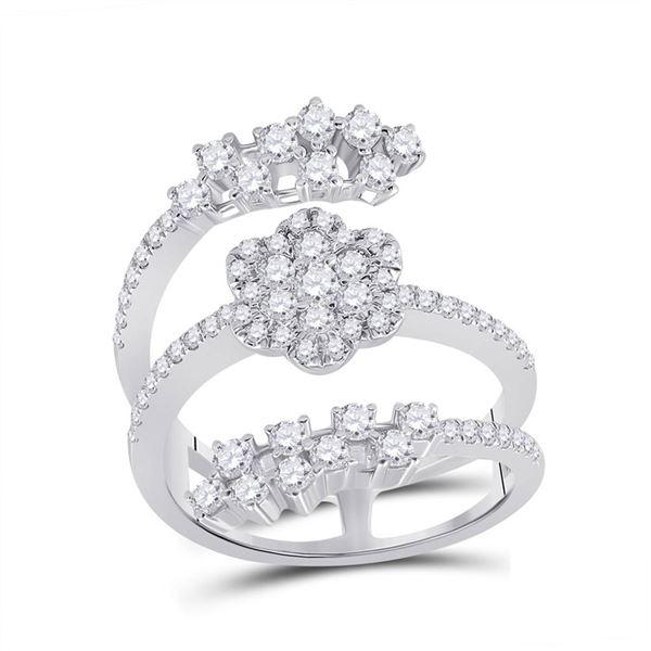 Round Diamond Spiral Cluster Ring 1 Cttw 14KT White Gold