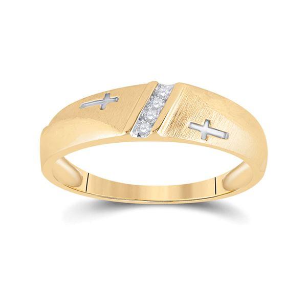 Round Diamond Wedding Cross Band Ring 1/20 Cttw 14KT Yellow Gold