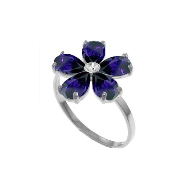 Genuine 2.22 ctw Sapphire & Diamond Ring 14KT White Gold - REF-42V2W