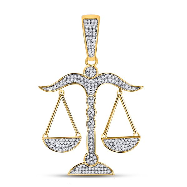 Round Diamond Scales of Justice Charm Pendant 1/2 Cttw 10KT Yellow Gold