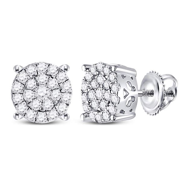 Round Diamond Concentric Circle Cluster Earrings 1/2 Cttw 10KT White Gold