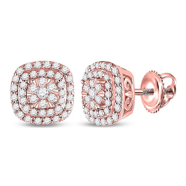 Round Diamond Cushion Halo Cluster Earrings 1/2 Cttw 14KT Rose Gold