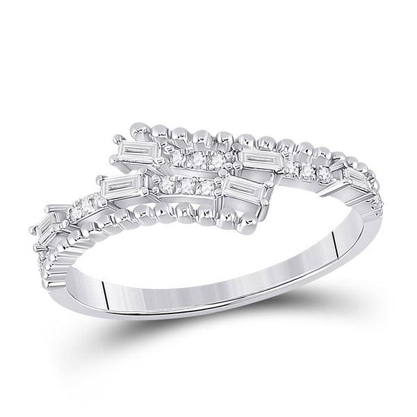 Baguette Diamond Bypass Band Ring 1/5 Cttw 14KT White Gold