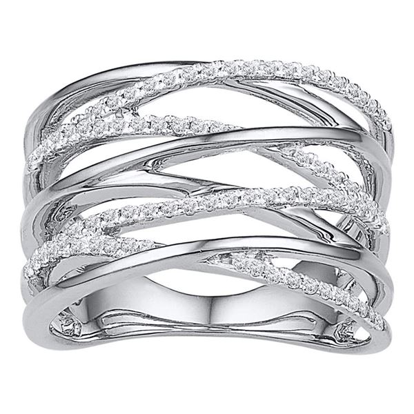 Round Diamond Crossover Open Strand Band 1/4 Cttw 10KT White Gold