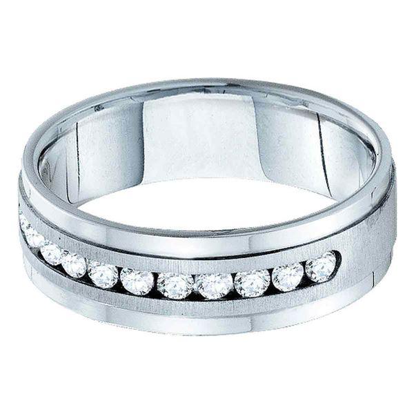Machine Set Round Diamond Wedding Band Ring 1 Cttw 14KT White Gold