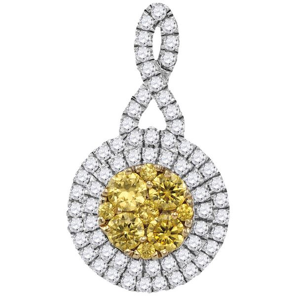 Round Yellow Diamond Concentric Circle Frame Cluster Pendant 1 Cttw 14KT White Gold