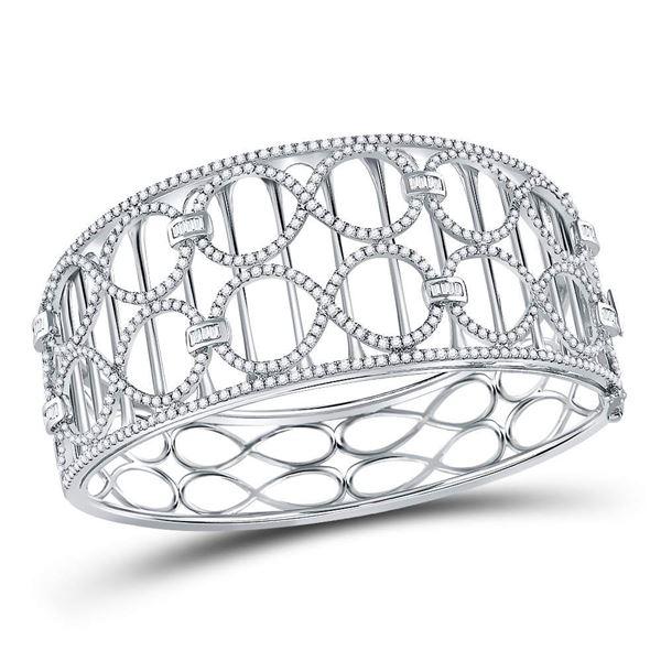 Round Diamond Fashion Cocktail Bracelet 4 Cttw 14KT White Gold