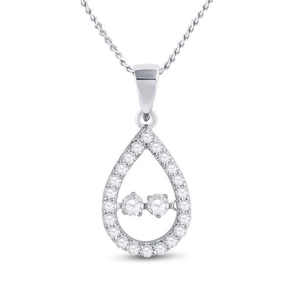 Round Diamond Moving Twinkle 2-Stone Teardrop Pendant 1/2 Cttw 10KT White Gold