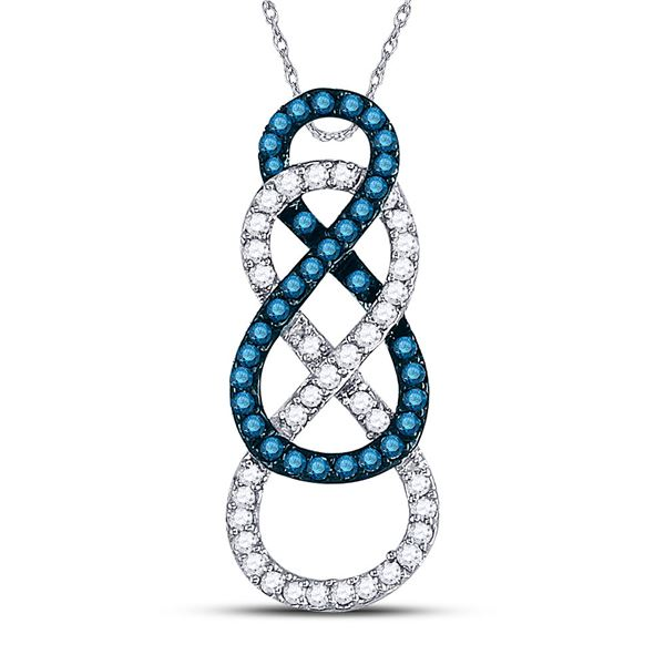 Round Blue Color Enhanced Diamond Linked Infinity Pendant 1/4 Cttw 10KT White Gold