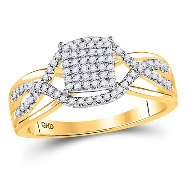Round Diamond Rectangle Twist Cluster Ring 1/4 Cttw 10KT Yellow Gold