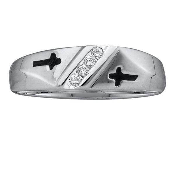 Round Diamond Single Row Cross Wedding Band 1/20 Cttw 10KT White Gold