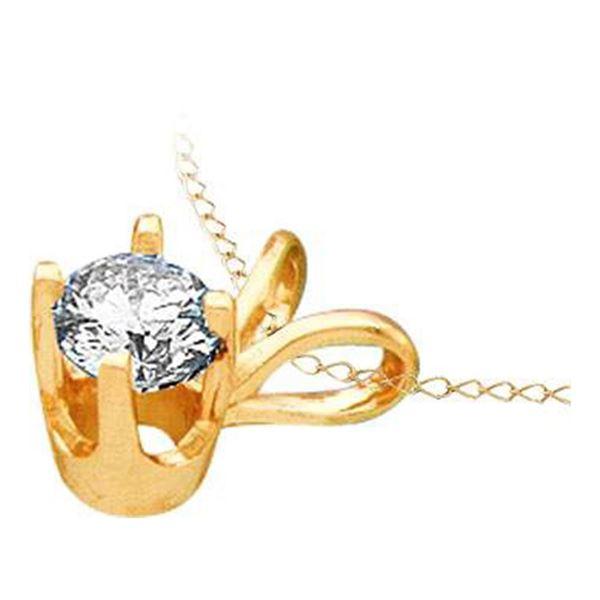 Round Diamond Solitaire Pendant 1/2 Cttw 14KT Yellow Gold