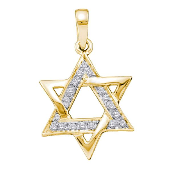 Diamond Star Magen David Jewish 6-point Pendant 1/10 Cttw 14KT Yellow Gold