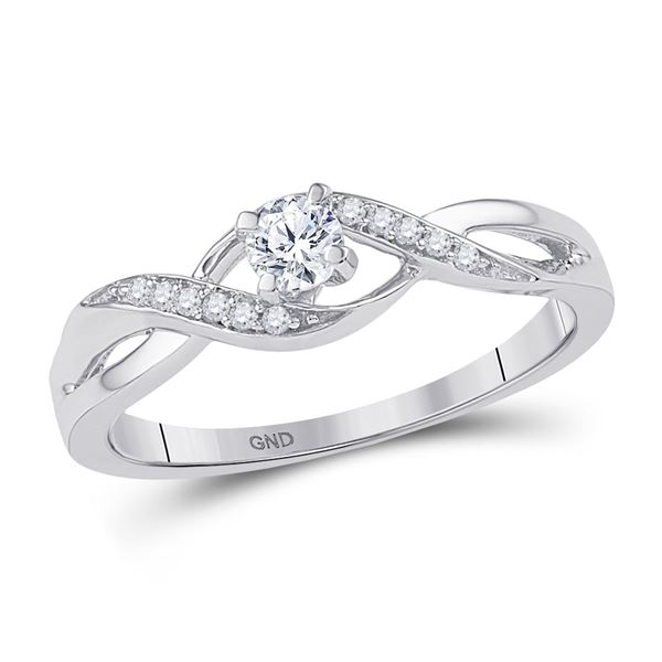 Round Diamond Solitaire Crossover Twist Promise Ring 1/6 Cttw 10KT White Gold