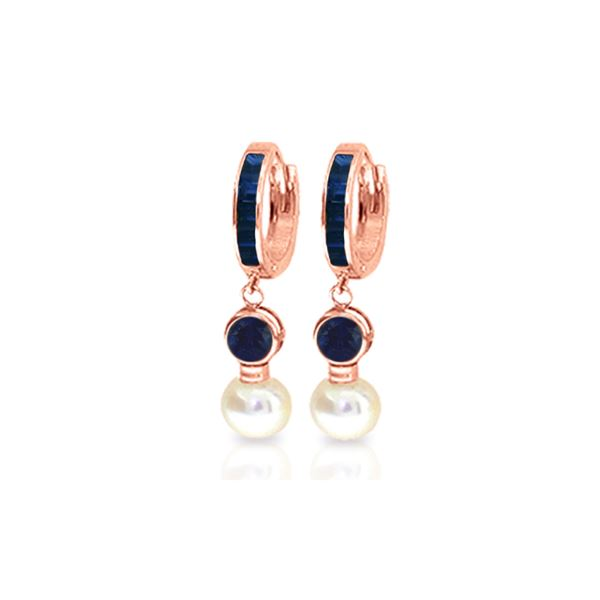 Genuine 6.65 ctw Sapphire & Pearl Earrings 14KT Rose Gold - REF-56W2Y