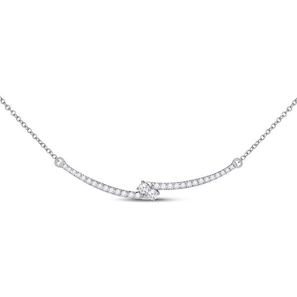 Round Diamond Curved Bar 2-stone Necklace 1/2 Cttw 14KT White Gold