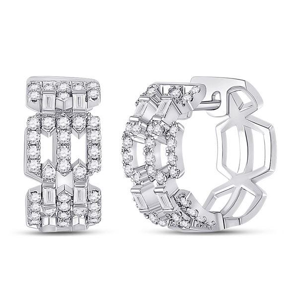 Baguette Diamond Link Huggie Earrings 3/4 Cttw 14KT White Gold