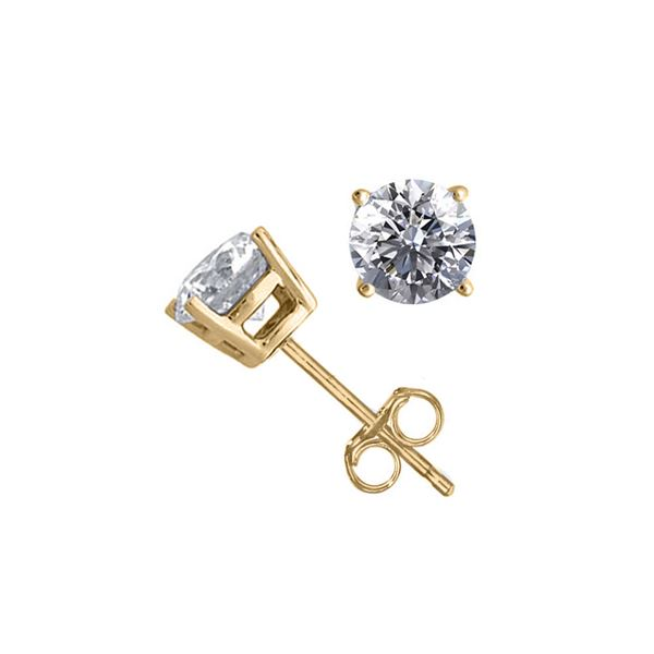 14K Yellow Gold 1.56 ctw Natural Diamond Stud Earrings - REF-394H9W