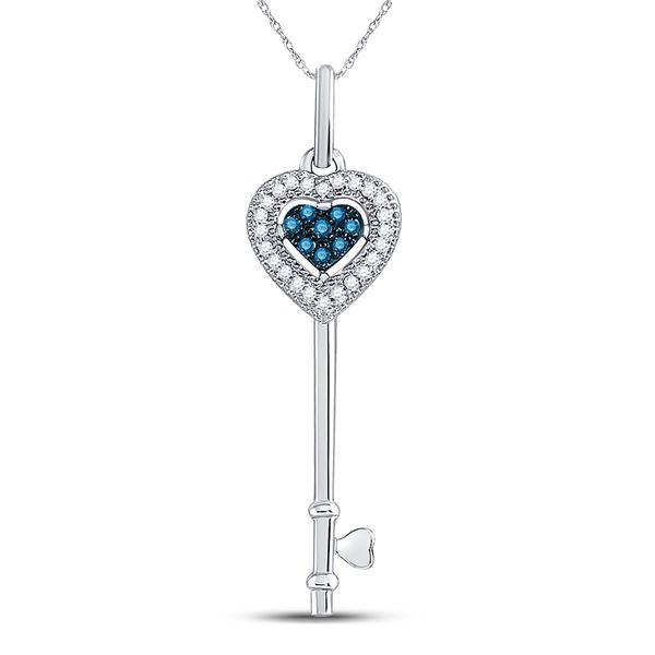 Round Blue Color Enhanced Diamond Key Love Pendant 1/10 Cttw 10KT White Gold