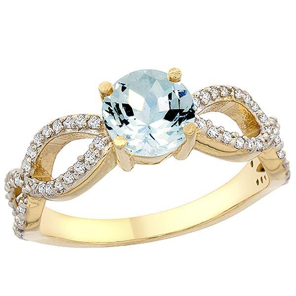 1 CTW Aquamarine & Diamond Ring 10K Yellow Gold - REF-52M2A
