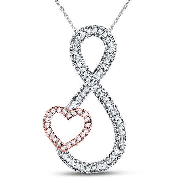 Round Diamond Heart Infinity Pendant 1/5 Cttw 10KT Two-tone Gold