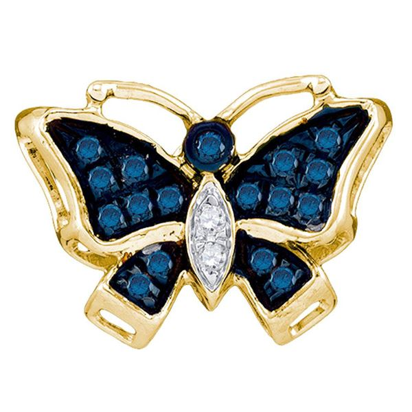 Round Blue Color Enhanced Diamond Butterfly Bug Pendant 1/20 Cttw 10KT Yellow Gold
