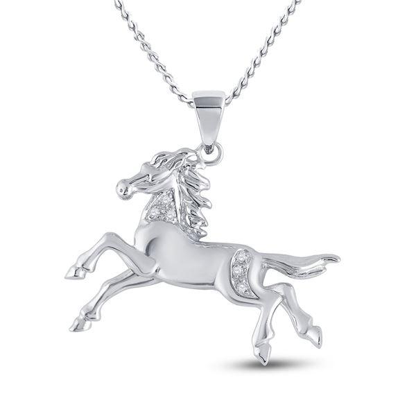 Round Diamond Horse Pony Animal Pendant 1/20 Cttw 10KT White Gold
