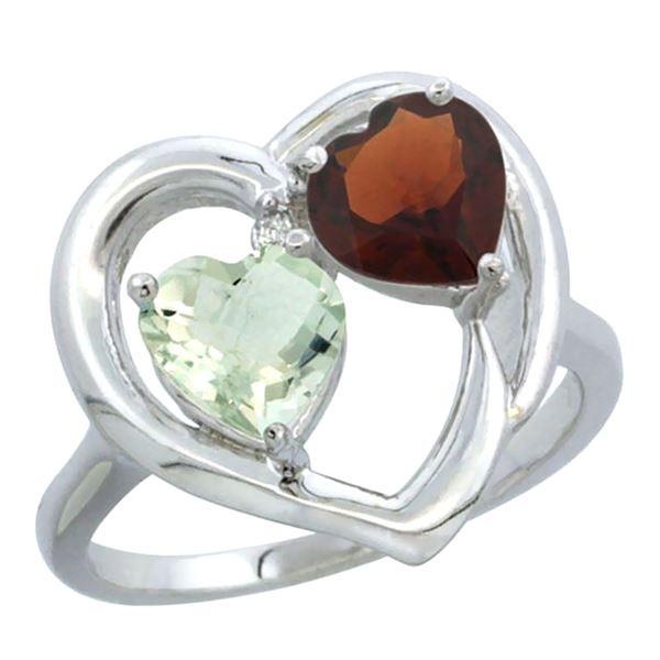 2.61 CTW Diamond, Amethyst & Garnet Ring 14K White Gold - REF-33K9W
