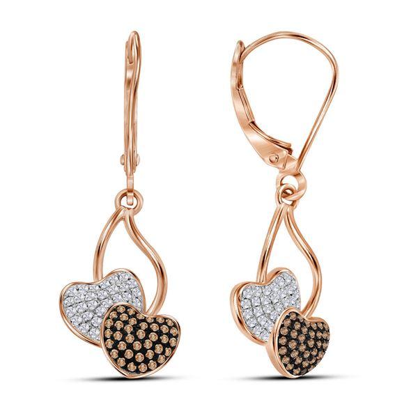 Round Red Color Enhanced Diamond Heart Dangle Earrings 1/3 Cttw 10KT Rose Gold