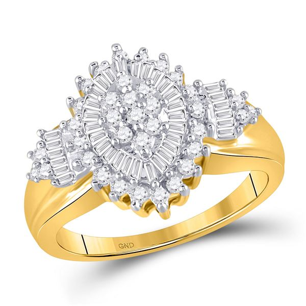Round Baguette Diamond Oval Cluster Ring 1/2 Cttw 10KT Yellow Gold