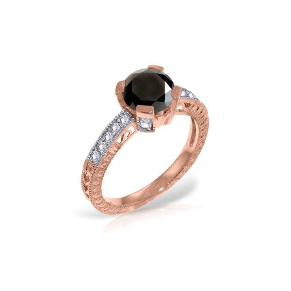 Genuine 1.30 ctw Black & White Diamond Ring 14KT Rose Gold - REF-149F2Z