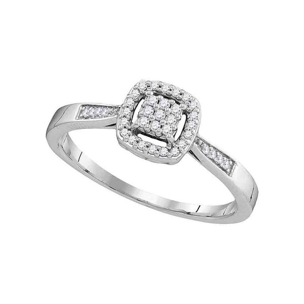 Round Diamond Square Cluster Ring 1/8 Cttw 10KT White Gold