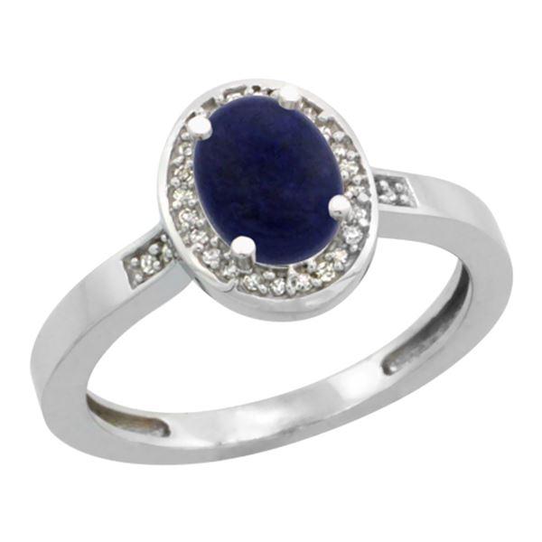 0.90 CTW Lapis Lazuli & Diamond Ring 10K White Gold - REF-30N7Y
