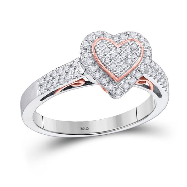 Round Diamond Heart Ring 1/3 Cttw 10KT Two-tone Gold